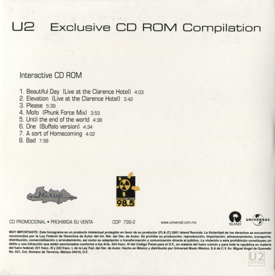 u2songs | Exclusive CD Rom Discography Entry |