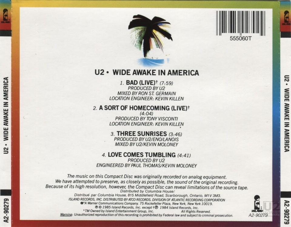 Resultado de imagen de u2 Wide Awake In America   portada