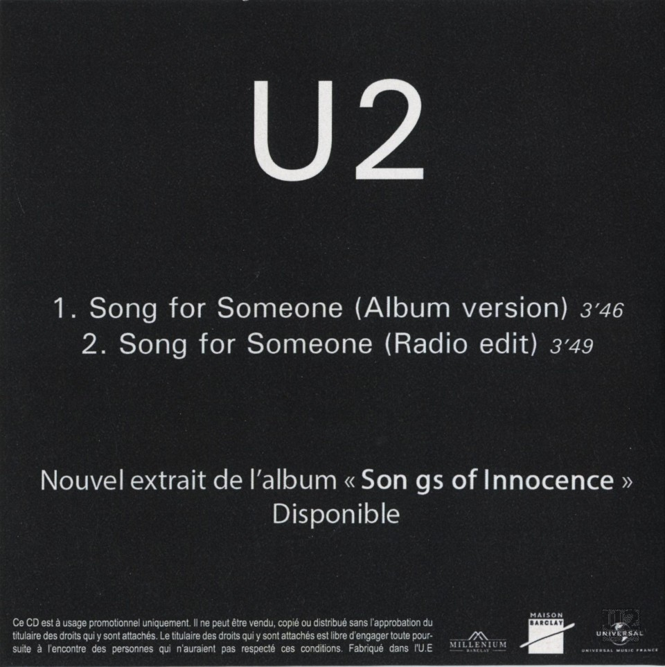 U2songs U2 Song For Someone Promotional Release