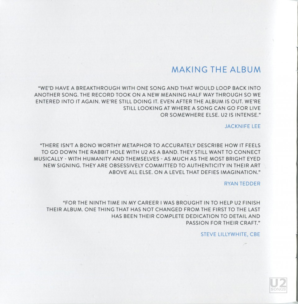 u2songs | For Your Consideration: New Printing of Songs of