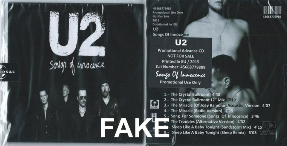u2songs | Fake Promotional Releases from Songs of Innocence in
